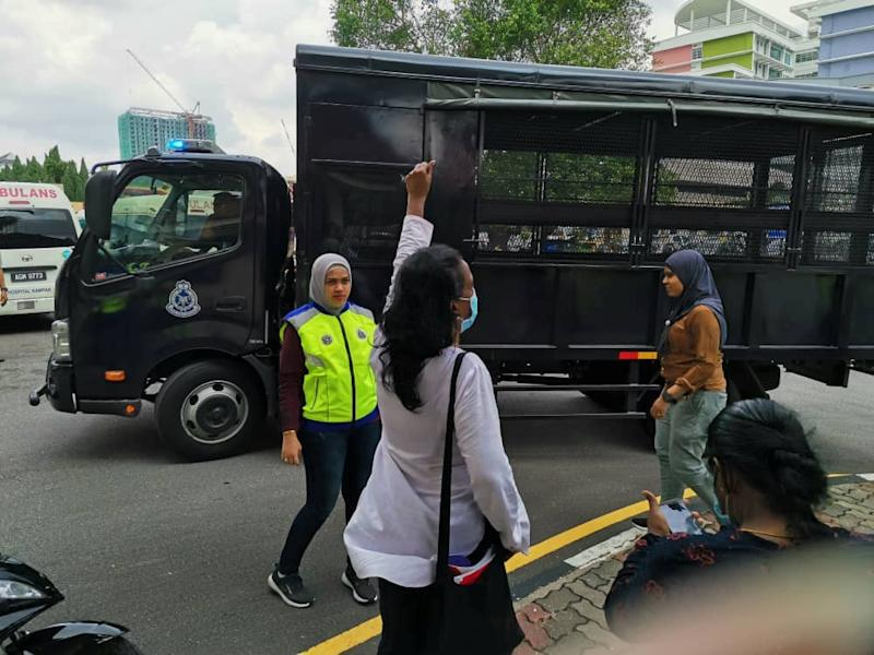 The five were arrested for obstructing civil servants from carrying out their duties, police said. — Picture courtesy of Parti Sosialis Malaysia