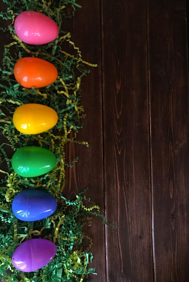 <p>Put out eggs in every color of the rainbow and have your little ones try to locate one of each color to get a full set.</p>