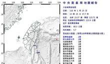 快新聞/地牛翻身! 東部海域15:25規模5.7地震 最大震度台東縣2級