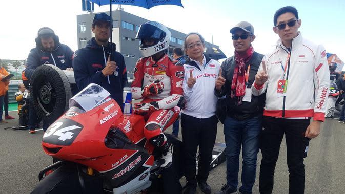 Mario Suryo Aji, pembalap asal Indonesia saat tampil di Moto3 FIM CEV di Ricardo Tormo, Valencia, Minggu (10/11/2019) (Astra Honda Motor Indonesia)