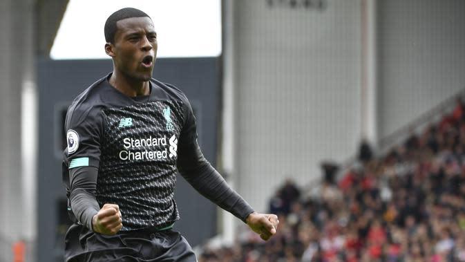 Gelandang Liverpool, Georginio Wijnaldum mencetak gol kemenangan timnya ke gawang Sheffield United. (PAUL ELLIS / AFP)