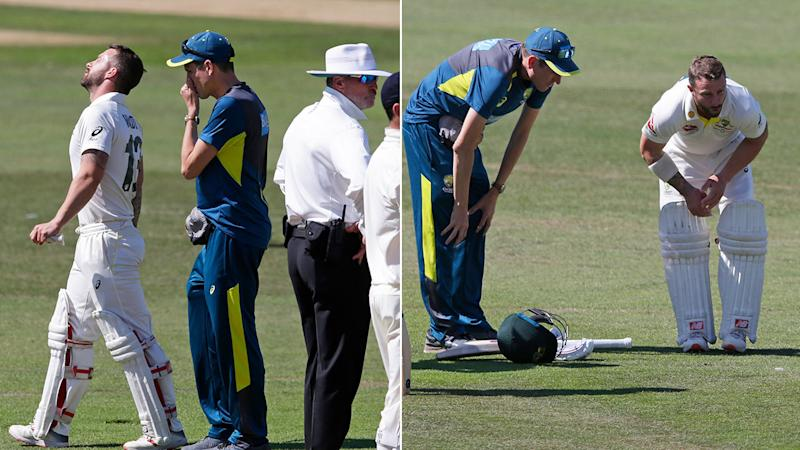 Injury forced Matthew Wade to retire hurt in Australia XI's second innings. Pic: Getty