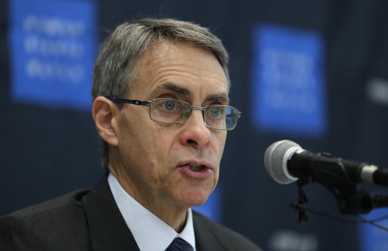 "FILE - In this Thursday, Nov. 1, 2018 file photo, Kenneth Roth, Human Rights Watch's executive director, speaks during a news conference in Seoul, South Korea. Human Rights Watch says Hong Kong authorities have barred its executive director from entering the territory. The move Sunday, Jan. 12, 2020 follows China's pledge last month to sanction organizations which it said had ""performed badly"" in relation to anti-government protests that have roiled Hong Kong for more than seven months. (AP Photo/Lee Jin-man, File)"