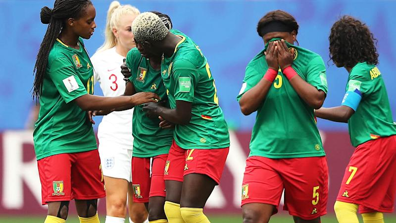 Cameroon players were in tears at one stage against England. (Photo by Molly Darlington - AMA/Getty Images)