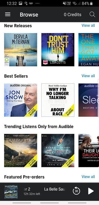 Screenshot of Audible app store