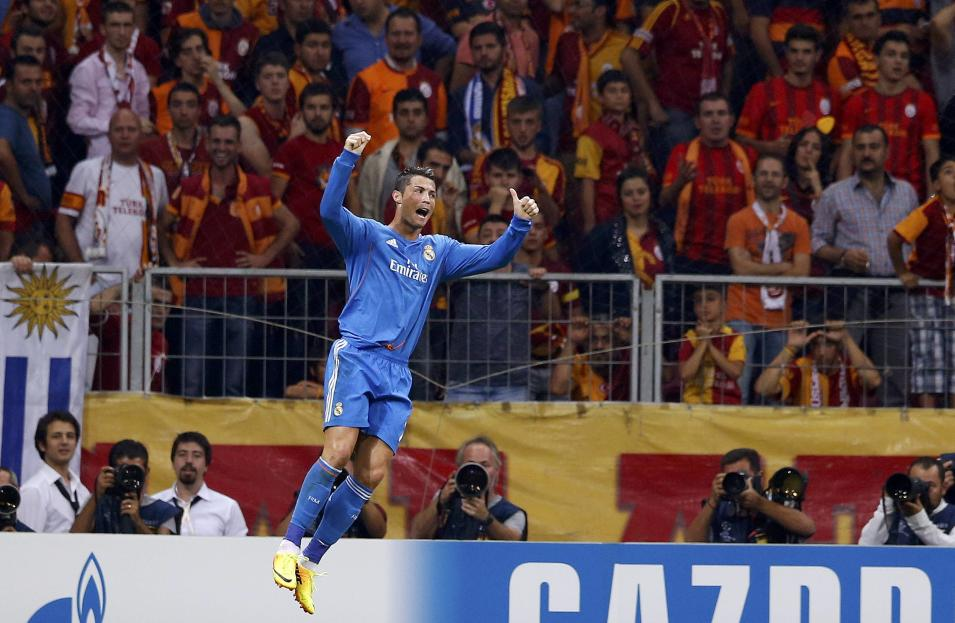 Real Madrid's Ronaldo celebrates a goal gainst Galatasaray during their Champions League soccer match in Istanbul