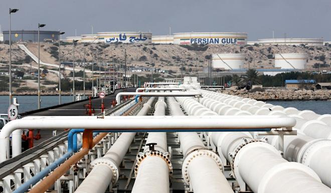 Iran's Kharg oil terminal in the Persian Gulf, shown on March 12, 2017. The US has sanctioned several Chinese entities over their purchases of Iranian petroleum and crude oil. Photo: EPA-EFE