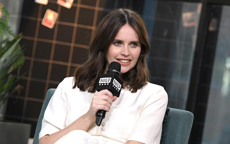 """Felicity Jones visits the Build Series to discuss the Amazon Studios film """"The Aeronauts"""" on December 03, 2019. (Photo by Gary Gershoff/Getty Images)"""