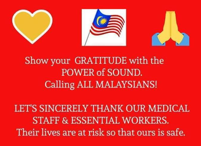 The poster urged Malaysians to cheer as a form of thanking the medical frontliners.