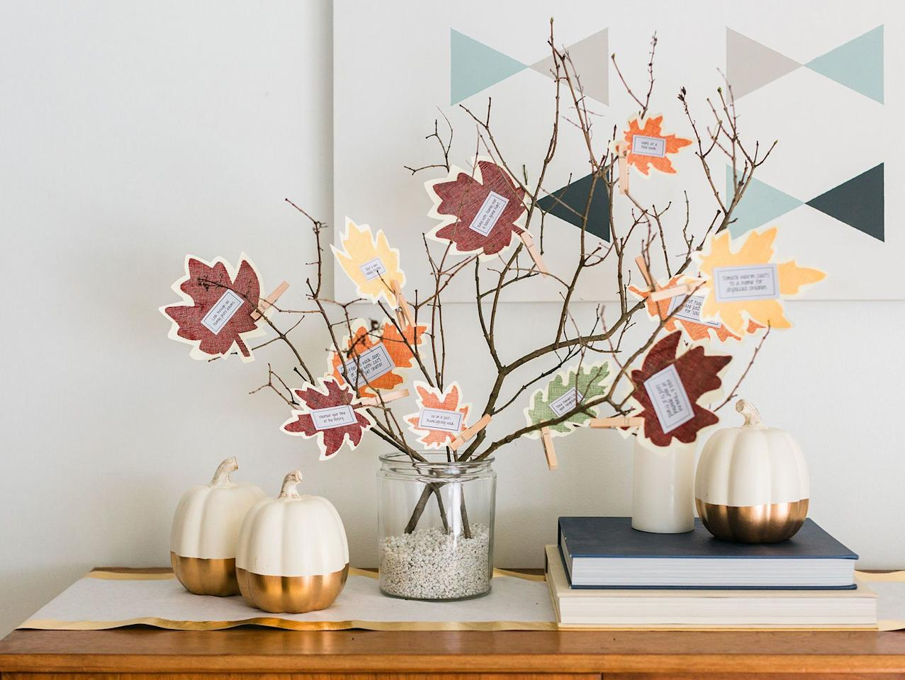 "<p>Thanksgiving is just around the corner, which means that it's time to deck out your home with festive holiday decor! When it comes to the best <a href=""https://www.goodhousekeeping.com/holidays/thanksgiving-ideas/g22688007/thanksgiving-decorations/"" target=""_blank"">Thanksgiving decorations</a>, there's nothing like a thankful tree to truly capture the spirit of the season. Thankful trees, or gratitude trees, are a great <a href=""https://www.goodhousekeeping.com/holidays/thanksgiving-ideas/g28635093/unique-thanksgiving-traditions/"" target=""_blank"">Thanksgiving tradition</a> that involves inviting your guests to write down what they're most thankful for on an ornament, then place it on the tree as part of an interactive seasonal display. Not only do these crafts make for a great holiday decor piece, it's also a wonderful way to give thanks for the season.</p><p>Luckily, if you're looking for ways to DIY your own Thanksgiving tree, we've rounded up all the best ideas here, from printable posters you can hang on the wall to festive mini-trees you can easily make with a few branches and some craft supplies. Whether you're looking for an elegant seasonal display or something you can easily craft with the kids, these creative DIY thankful trees make for great <a href=""https://www.goodhousekeeping.com/home/decorating-ideas/g30445806/diy-wall-decor-ideas/"" target=""_blank"">wall decor ideas</a>, <a href=""https://www.goodhousekeeping.com/home/decorating-ideas/g33418751/fall-mantel-decor-ideas/"" target=""_blank"">fall mantel decorations,</a> or even beautiful <a href=""https://www.goodhousekeeping.com/holidays/thanksgiving-ideas/g1681/thanksgiving-centerpieces-easy-elegant/"" target=""_blank"">Thanksgiving centerpieces</a> for your table — and will definitely have you and the entire family giving thanks for the best holiday tradition yet!  </p>"