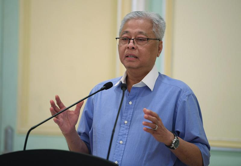 Senior Minister Datuk Seri Ismail Sabri Yaakob speaks during a press conference in Putrajaya April 5, 2020. — Bernama pic