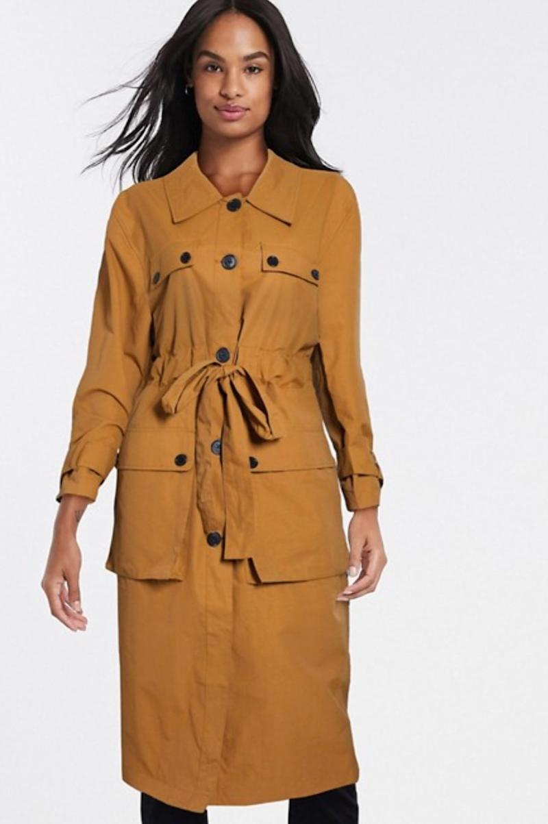 ASOS DESIGN four pocket trench coat in ochre (photo via ASOS)