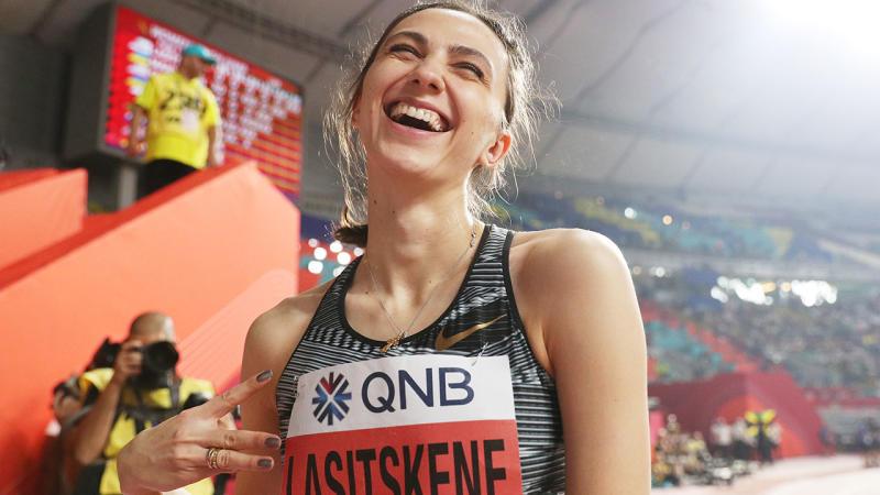 Mariya Lasitskene, pictured here celebrating her gold medal.