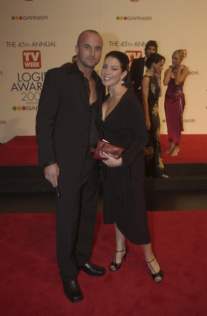 Home and Away star Ben Unwin pictured with Kate Ritchie at the 2003 Logie Awards.