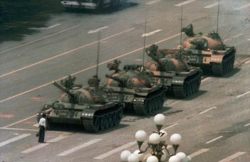 'Tank man' in one of the enduring images of the 1989 Tiananmen Square crackdown. Photo: AP