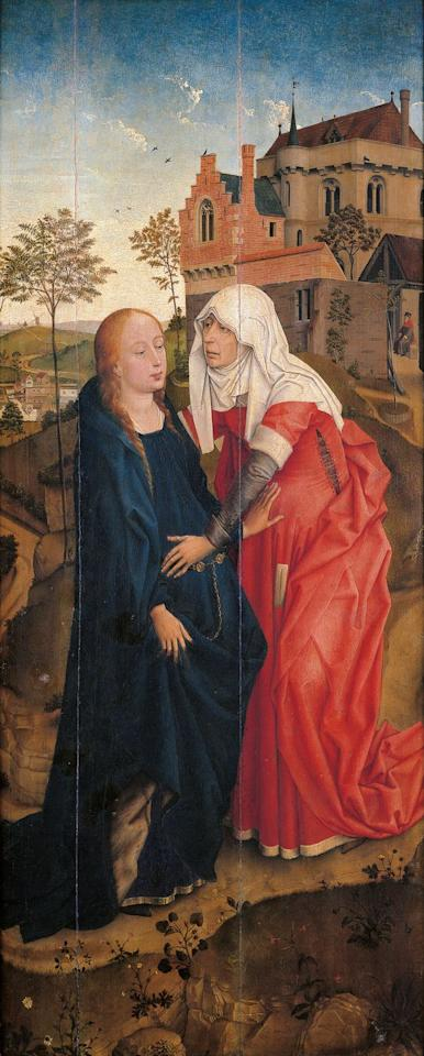 <p>Here's another look at modest maternity style in the 13th century. Heavy materials like velvet became popular for dressing gowns at this time, which helped further conceal bumps.</p>