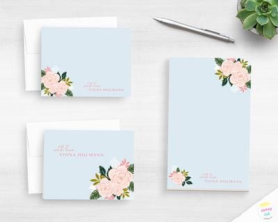 Personalized Stationery Set  Elegant Floral Stationary with Envelopes  Stationary Notecard Gift Set  Watercolor Flowers Stationery Card