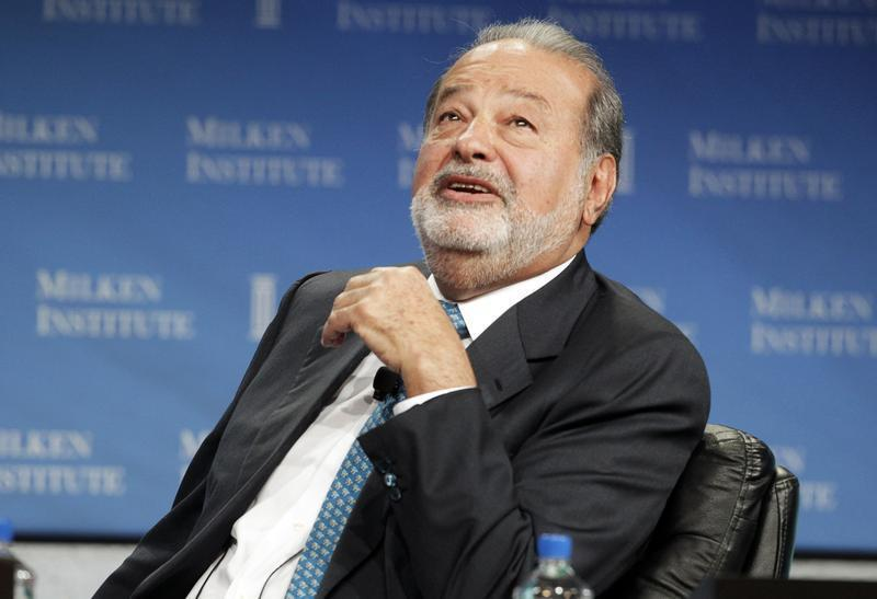 "Carlos Slim speaks during ""A Conversation with Larry King and Carlos Slim"" at the Milken Institute Global Conference in Beverly Hills"