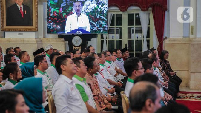 Suasana pembukaan Asian Agriculture and Food Forum (ASAFF) 2020 di Istana Negara, Jakarta, Rabu (12/3/2020). ASAFF Tahun 2020 yang dibuka langsung oleh Presiden Joko Widodo atau Jokowi itu diselenggarakan Himpunan Kerukunan Tani Indonesia (HKTI). (Liputan6.com/Faizal Fanani)