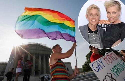 Gay rights supporter Vin Testa waves a rainbow flag outside the U.S. Supreme Court building on June 26, 2013 in Washington, D.C. / inset: Ellen Degeneres and Portia de Rossi -- Getty Premium