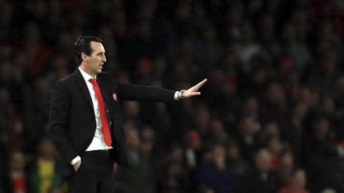 Pelatih Arsenal, Unai Emery, saat melawan Crystal Palace pada laga Premier League 2019 di Stadion Emirates, Minggu 927/10). Kedua tim bermain imbang 2-2. (AP/Leila Coker)
