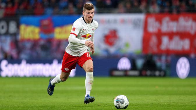 Timo Werner (64 juta euro) - Penampilan apik Werner bersama RB Leipzig di kompetisi Bundesliga membuatnya banyak dilirik klub besar Eropa lainnya. Pemain 24 tahun ini memiliki harga pasar transfer mencapai 64 juta euro. (AFP/Ronny Hartmann)