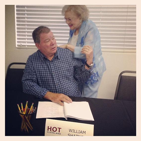 Betty White Yahoo! TV Instagram: Hey Bill. Glad you're here and guest starring with us on #HotInCleveland! -Betty #bettywhite #hotlive #tvland #williamshatner #startrek #trekkieforlife