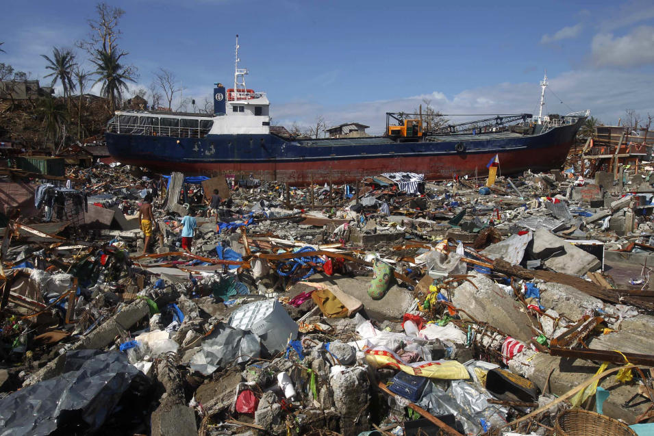 A cargo ship washed ashore is seen after super typhoon Haiyan hit Tacloban