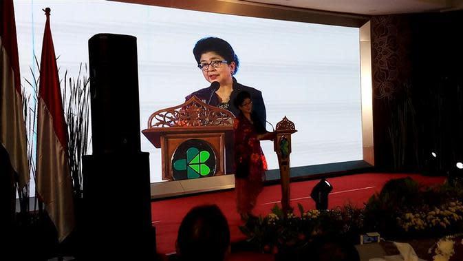 Nila Moeloek memberikan sambutan dalam acara Pisah Sambut Menteri Kesehatan di Gedung Kementerian Kesehatan, Jakarta, Kamis (24/10/2019). (Liputan.com/Fitri Haryanti Harsono)
