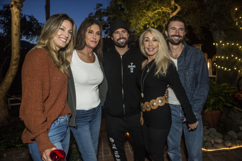 """MALIBU, CALIFORNIA - MAY 11: Cassandra Marino, Caitlyn Jenner, Brody Jenner, Linda Thompson and Brandon Jenner pose for a portrait at Brandon Jenner's Interactive Party, Live Show And Video Premiere For His New Single """"Death Of Me"""" on May 11, 2019 in Malibu, California. (Photo by Harmony Gerber/Getty Images)"""