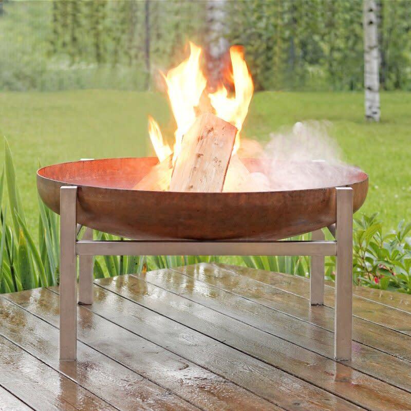 Redekar Stainless Steel Wood Burning Fire Pit (Credit: Wayfair)