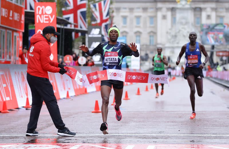 Ethiopia's Kitata sprints to London Marathon win as Kipchoge suffers rare defeat