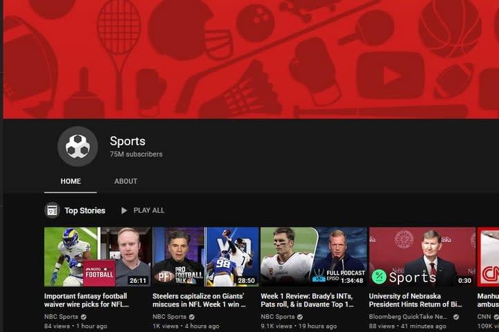 YouTube Sports channel screenshot
