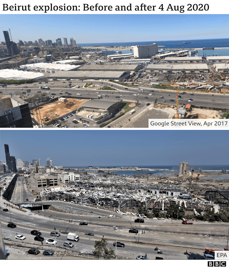 Images showing Beirut`s port before and after explosion on 4 August 2020
