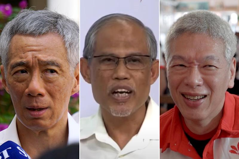 During an online rally on Friday (3 July) night, Environment and Water Resources Minister Masagos Zulkifli appeared to mistakenly refer to Lee Hsien Yang (right) instead of Lee Hsien Loong as Singapore's Prime Minister. (PHOTOS: Yahoo News Singapore, YouTube screengrab)