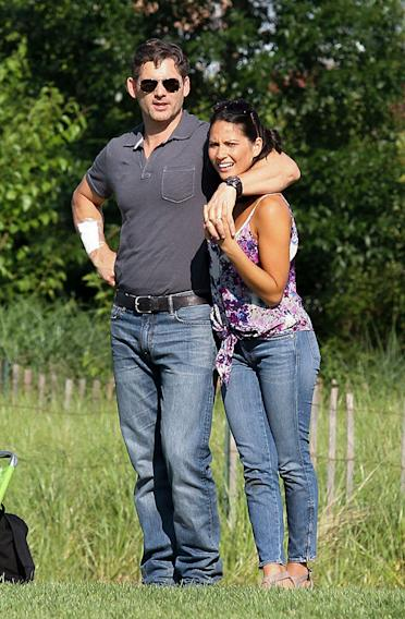 Eric Bana and Olivia Munn spotted filming a scene for 'Beware the Night' at a park in Bronx, NYC