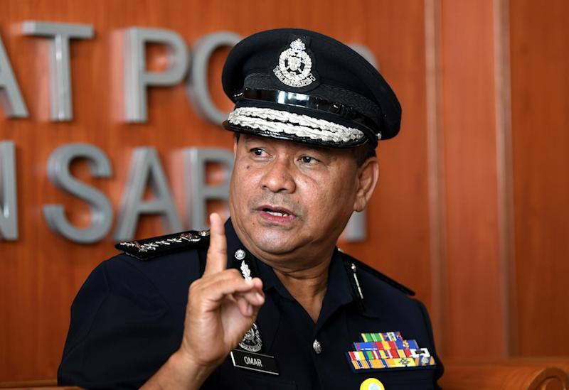 Sabah police chief Datuk Omar Mammah said in the incident at Pegasus reef at 6.30pm yesterday, four masked suspects, armed with M16s, stormed the Magtrans II tugboat, carrying 13 crew members. — Bernama pic