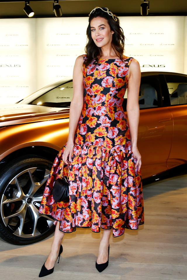 <p>Megan arrives at the Lexus marquee in a floral Toni Maticevski dress. <br />Photo: Getty </p>