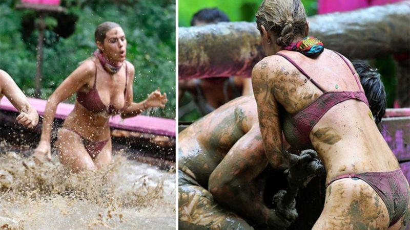 Sam Schoers caused a flurry of comments online after she wore a skimpy bikini to take part in a mud challenge. Photo: Channel 10