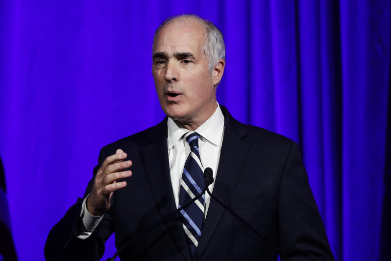 "FILE - In this Nov. 1, 2019, file photo Sen. Bob Casey, D-Pa., speaks during a Pennsylvania Democratic Party fundraiser in Philadelphia. The Trump administration was slow to comprehend the scale of COVID-19's impact on nursing homes and a disjointed federal response has only compounded the devastating toll, according to a report from Senate Democrats. ""Unfortunately for the nation, it is a chronicle of deadly delay, and a lack of urgency, and the lack of a strategy,"" said Casey, ranking Democrat on the Aging Committee. (AP Photo/Matt Rourke, File)"