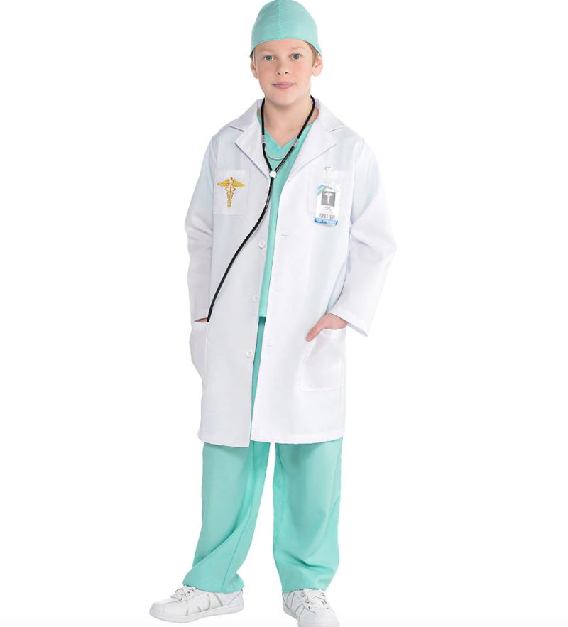 Doctor costume (kids). Image via Party City.