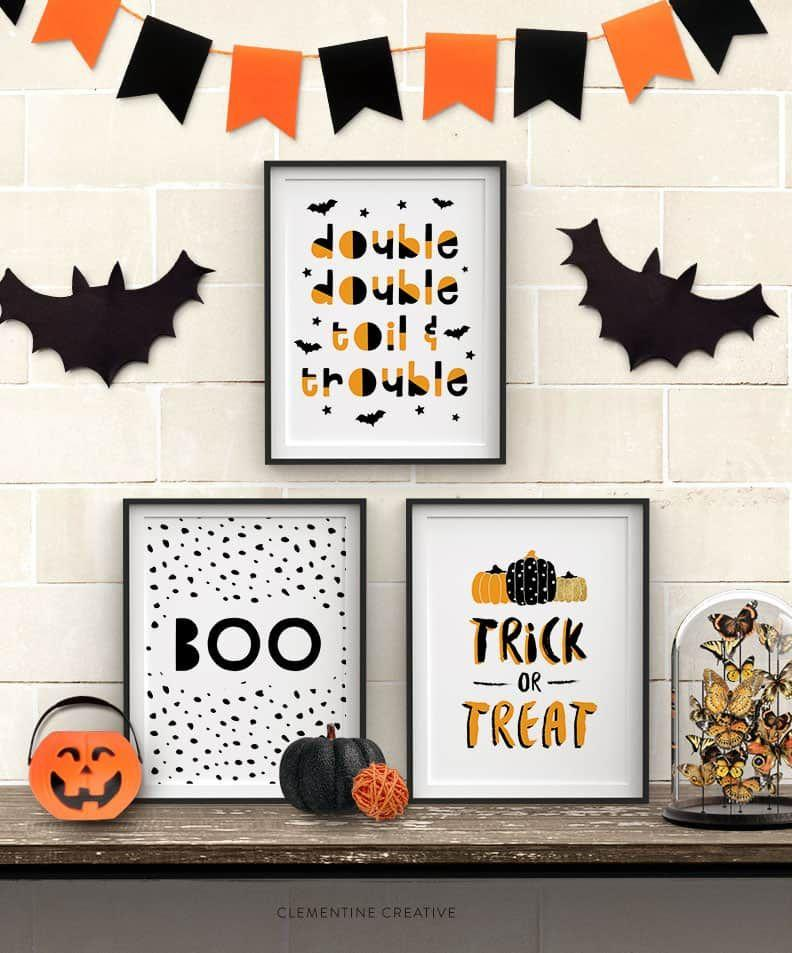 "<p>Print and frame these graphic signs and display on your mantle, walls, or tabletop. Easy-to-read Halloween messages include ""boo,"" ""trick or treat,"" and ""double double toil and trouble.""<br></p><p><em><a href=""https://www.clementinecreative.co.za/free-printable-halloween-wall-art-modern-prints-for-your-halloween-decor/"" target=""_blank"">Get the printable at Clementine Creative  »</a></em></p>"