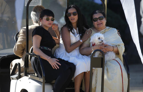 Indian Sitar maestro Ravi Shankar's wife Sukanya Rajan, right, daughter Anoushka Shankar, center, and stepdaughter Nora Jones, left, leave after a memorial service for Indian Sitar maestro Ravi Shankar in Encinitas, Calif., Thursday, Dec. 20, 2012. Shankar was a master of the Indian sitar who collaborated with and influenced George Harrison, John Coltrane and other Western music icons. He lived in Encinitas for two decades and died last week at age 92. (AP Photo/Jae C. Hong)