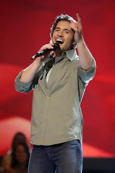 Luke Menard performs as one of the top 16 contestants on the 7th season of American Idol.