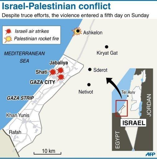 Map of Gaza locating areas affected by cross-border violence between Israel and Palestinian rebel groups