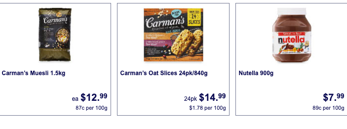 Carman's muesli, Carman's oat slices and Nutella bulk packs on sale at Aldi on August 28.