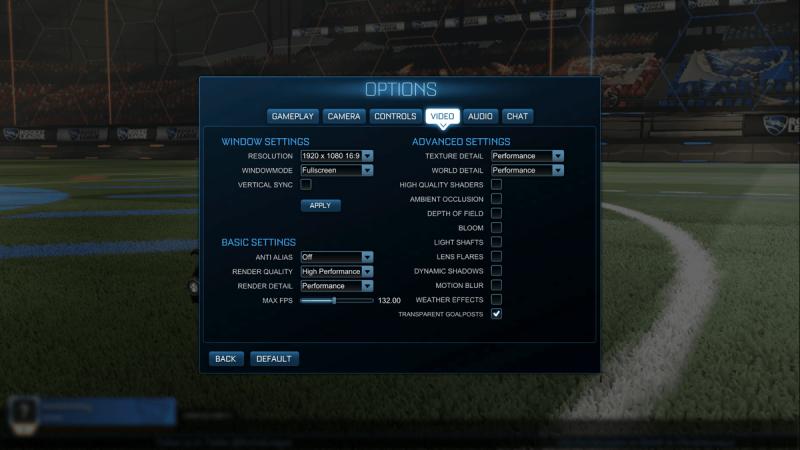 Rocket League   Graphics Settings Menu