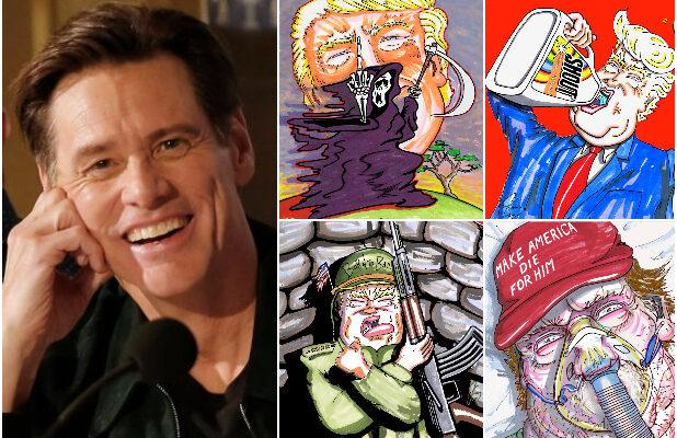 Jim Carrey Depicts a Destructive Trump Presidency in 50 of His Politically Charged Artworks (Photos)