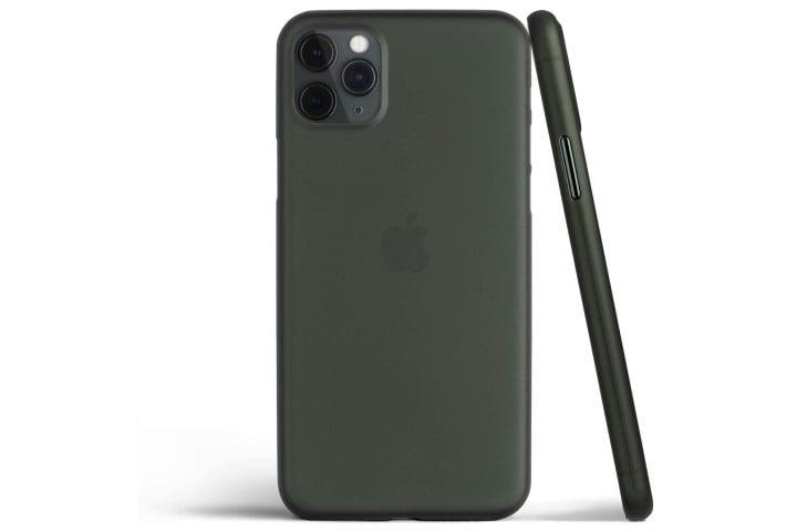 Photo shows the back and side view of an iPhone 11 Pro in a black Totallee Thin Case