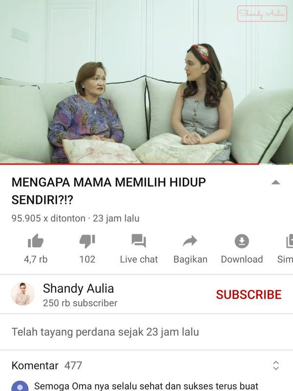 Unggahan Shandy Aulia. (Foto: YouTube Shandy Aulia)